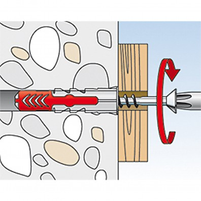 fischer Duopower Dübel rot-grau Montage in Vollbaustoffen Schritt 3