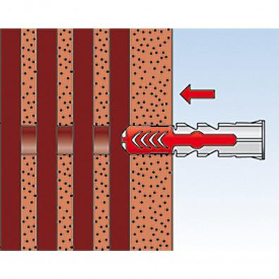 fischer Duopower Dübel rot-grau Montage in Lochbaustoffen Schritt 2