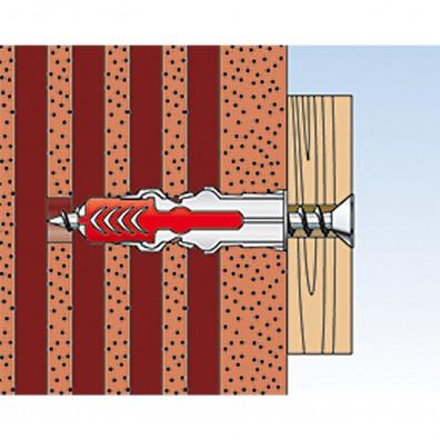 fischer Duopower Dübel rot-grau Montage in Lochbaustoffen Schritt 4