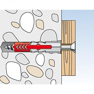 fischer Duopower Dübel rot-grau Montage in Vollbaustoffen Schritt 4
