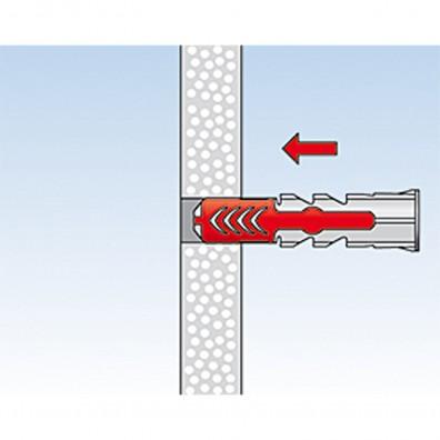 fischer Duopower Dübel rot-grau Montage in Plattenbaustoffen Schritt 2