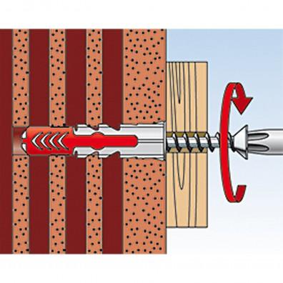 fischer Duopower Dübel rot-grau Montage in Lochbaustoffen Schritt 3