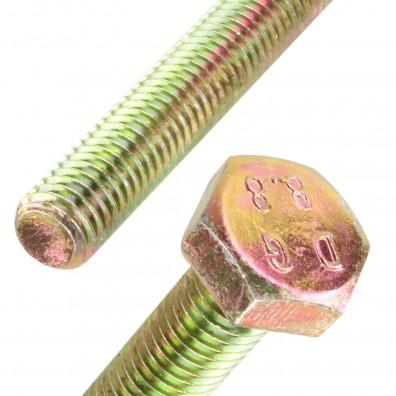 Detailansicht Sechskantschraube gelb verzinkt DIN 933