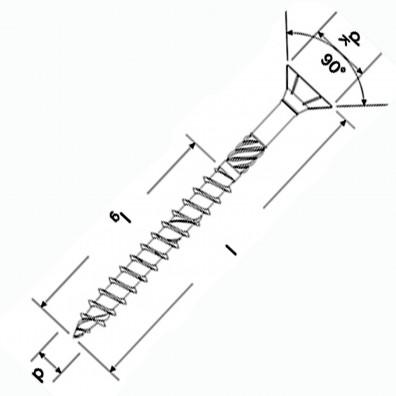 fischer Power-Fast Spanplattenschrauben Skizze