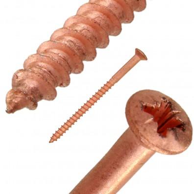 Holzschraube Pozidriv verkupfert Detailbild