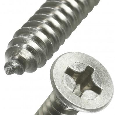 Schraubenkopf und Schraubenspitze einer Blechschraube
