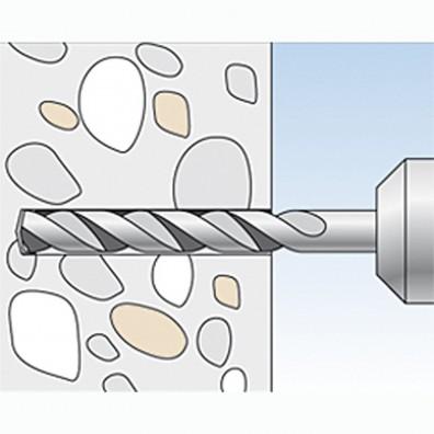 fischer Duopower Dübel rot-grau Montage in Vollbaustoffen Schritt 1