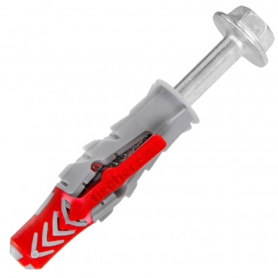 fischer DUOPOWER Dübel rot-grau mit Sechskantschraube Edelstahl A4