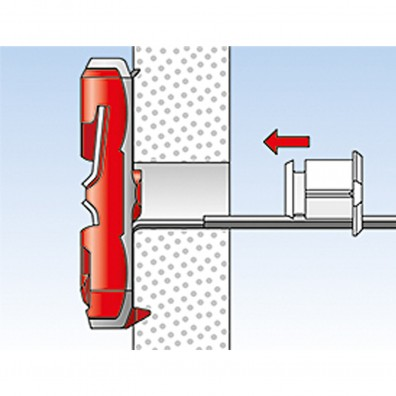fischer DUOTEC Kippdübel Montage in Plattenbaustoffen Schritt 4