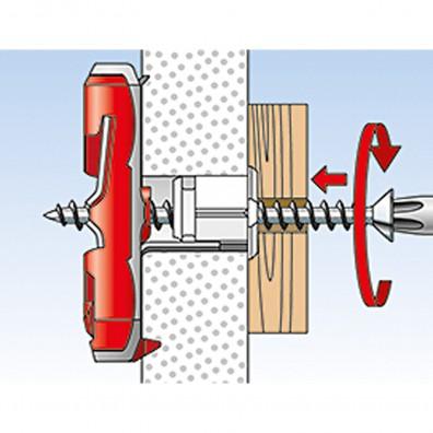 fischer DUOTEC Kippdübel Montage in Plattenbaustoffen Schritt 6