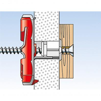 fischer DUOTEC Kippdübel Montage in Plattenbaustoffen Schritt 7