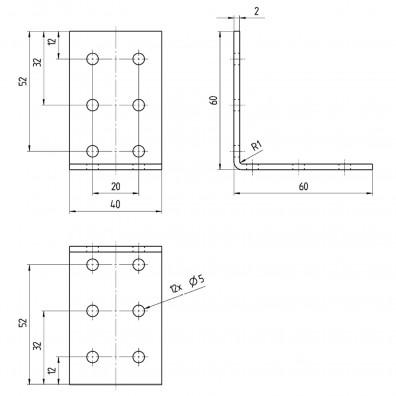 H-Pfostenträger Skizze mit Maßangaben