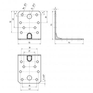 Skizze mit Maßangaben Winkel mit Rippe