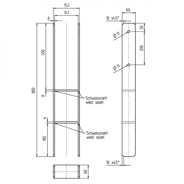 h pfostentr ger 141 x 800 mm verzinkt befestigungsfuchs. Black Bedroom Furniture Sets. Home Design Ideas