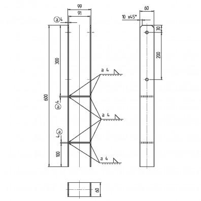 1 gah h pfostentr ger edelstahl a2 6 600 f r 90 mm pfosten. Black Bedroom Furniture Sets. Home Design Ideas