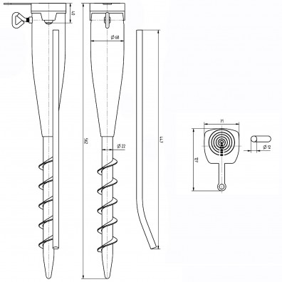 Einschraub-Bodenhülse Skizze mit Maßangaben