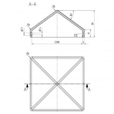 Pfostenkappe Skizze mit Maßangaben
