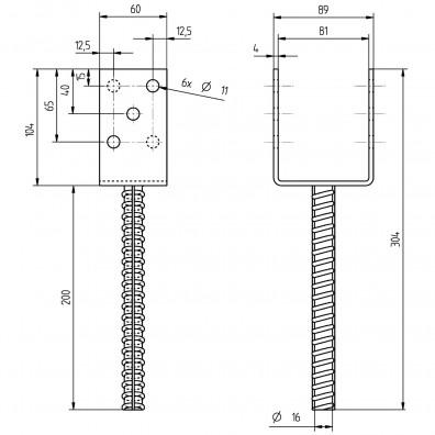 U-Pfostenträger Skizze mit Maßangaben