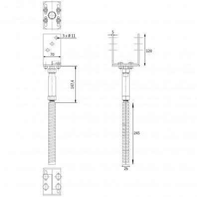 U-Pfostenträger höhen- und breitenverstellbar Skizze mit Maßangaben