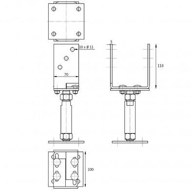 U-Pfostenträger breitenverstellbar Skizze mit Maßangaben
