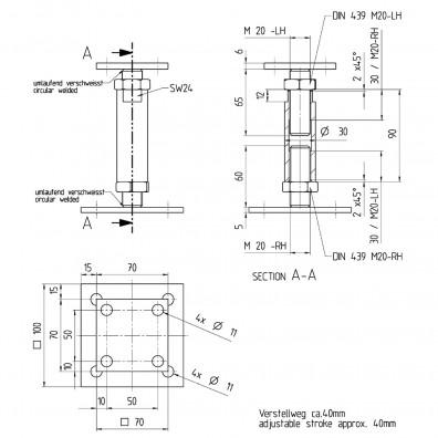 Skizze des höhenverstellbaren Pfostenträgers