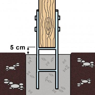 Skizze eines einbetonierten H-Pfostenträger mit 600mm Länge