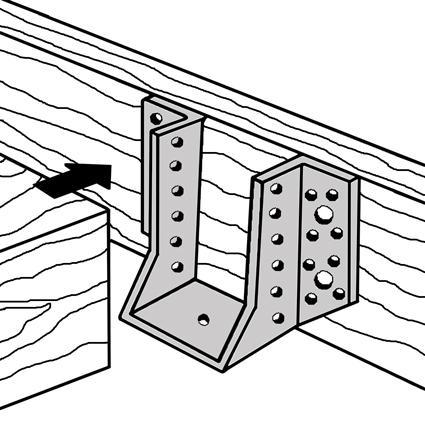 Skizze zur Anwendung eines Balkenschuhes