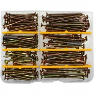 152 tlg Spanplattenschrauben Sortiment - verzinkt - Senkkopf - Torx - inkl. Bits