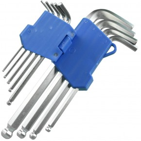 9 tlg Innensechskant Winkelschraubendreher Set SW 1,5 bis 10 mm mit Kugelkopf