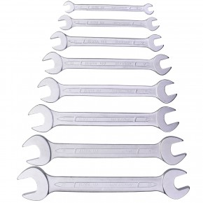 1 Doppelmaulschlüssel-Satz DIN 3110 verchromt 8 teilig in Kunststofftasche