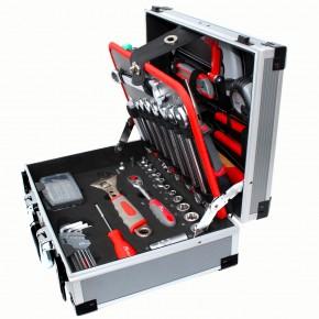 92-tlg. Werkzeugkoffer aus Aluminium - befüllt mit Handwerkzeugen und Zubehör