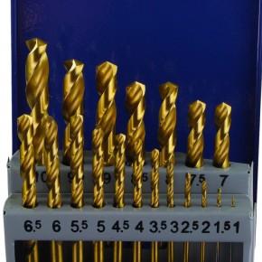 19 tlg Spiralbohrer Sortiment HSS-TIN-Bohrer in Metallkassette - 1-10 mm