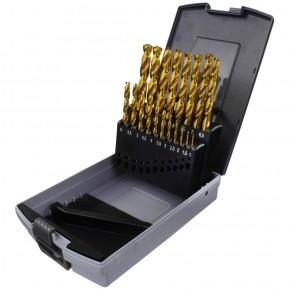19 tlg Spiralbohrer Sortiment HSS-TIN-Bohrer in Roseplastik Box - 1-10 mm