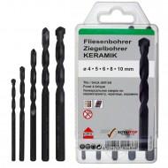 5 tlg. Ziegelbohrer - Fliesenbohrer -Set - KEIL - Ø = 4 - 5 - 6 - 8 - 10 mm
