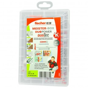 87 tlg. FISCHER Meister-Box DUOPOWER-DUOTEC + Schrauben-Sortiment 6-8-10mm
