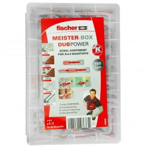 150 tlg. FISCHER Meister-Box DUOPOWER Nylon-Dübel -Sortiment 6 - 8 mm kurz-lang