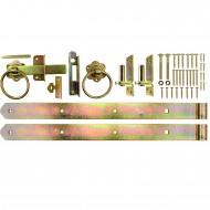 1 Beschlagset für Flechtzaun-Einzeltore mit 500mm Ladenbändern, gelb verzinkt