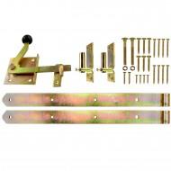 1 Beschlagset für Einzeltore mit 500 mm Ladenbändern, gelb verzinkt
