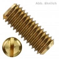 100 Gewindestifte mit Schlitz und Kegelkuppe M5 x 5 mm - DIN 551 - Messing