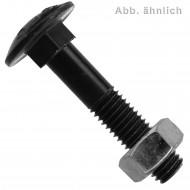 100 Schlossschrauben DIN 603 - M12 x 40 mm - Flachrundkopf - blank