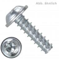500 Gewindefurchende Schrauben 4x12 mm, mit Scheibe, RSTplus, TX20, verzinkt