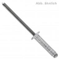 500 Blindnieten 4x12 mm - Aluminium - verzinkter Dorn, gerillt,  Flachrundkopf