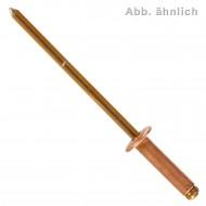 500 Blindnieten 3 x 6 mm - Kupfer - Bronze Dorn - Flachkopf
