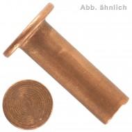 100 Halbhohlnieten 4x10 mm - für Brems- und Kupplungsbeläge - DIN 7338 - Kupfer