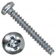 100 Linsen-Blechschrauben 3,5x9,5 mm, Form F mit Zapfen, PH2, DIN 7981, verzinkt