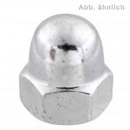 100 Hutmuttern DIN 1587 Messing galvanisch verchromt M8