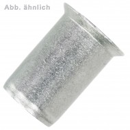 250 Blindnietmuttern Aluminiumlegierung Rundschaft offen Flachkopf M6 1,5-4,5