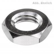 100 Sechskantmuttern M5 - SW8 - niedrig, Form B - Messing vernickelt - DIN 439