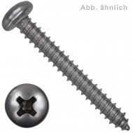 200 Blechschrauben DIN 7981 - 6,3x38 mm - Linsenkopf - Kreuz - Edelstahl A2