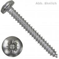 1000 Blechschrauben DIN 7981 - 2,2x6,5 mm - Linsenkopf - Pozidriv - Edelstahl A2
